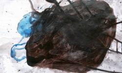 05 mister klecks hat sich verirrt, 2013, Acryl/Tusche auf bemaltem Papier, 14 x 19 cm