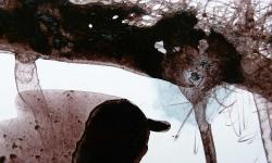07 korosion, 2013, Beize auf Glanzpappe, 13 x 17 cm