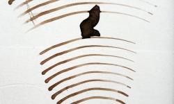 mister klecks im brummkreisel, 2013, Tusche auf Pappe, 9 x 9 cm