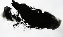 01 nebelschauplatz 1, 2013, Monotypie, Druckfarbe auf Industriebütten, 19 x 29 cm