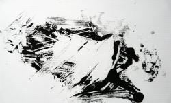 02 nebelschauplatz 2, 2013, Monotypie, Druckfarbe auf Industriebütten, 19 x 29 cm