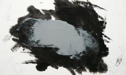07 nebelschauplatz 7, 2013_Monotypie, Druckfarbe auf Industriebütten, auf Leinwand kaschiert, 18 x 24 cm