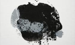 03 nebelschauplatz 3, 2013_Monotypie, Druckfarbe auf Leinwand, 18 x 24 cm