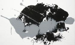 05 nebelschauplatz 5, 2013_Monotypie, Druckfarbe auf Leinwand, 18 x 24 cm