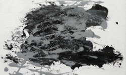 06 nebelschauplatz 6, 2013_Monotypie, Druckfarbe auf Leinwand, 18 x 24 cm