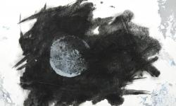 09 nebelschauplatz 9, 2013_Monotypie.  Druckfarbe auf Industriebütten mit Lackskin, auf Leinwand kaschiert, 18 x 24 cm