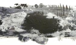 12 garzweiler III, 2013, Druckfarbe auf Leinwand, 20 x 50 cm