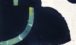 1 drei gegen die schwerkraft, 2015, Pigmentfarbe mit Collage Element auf Buetten, 33 x 25 cm