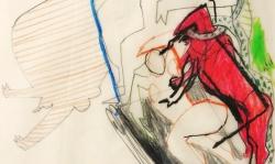 8 halali die hunde auf mich,  2000, Zeichnung. Bleistift, Buntstift auf Transparentpapier, 40 x 29 cm