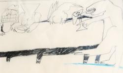 9 meines todes joch geilt dich das so,  2000, Zeichnung. Bleistift, Buntstift auf Transparentpapier, 40 x 29 cm