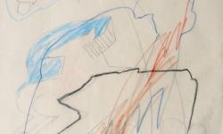 2 zurückgewiesen hast du mich mit bösem hohn und spott, 1999, Zeichnung. Bleistift, Buntstift auf Transparentpapier, 40 x 29 cm
