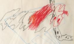 3 das schicksal will's, ich will dein blut!, 2000, Zeichnung. Bleistift, Buntstift auf Transparentpapier, 40 x 29 cm
