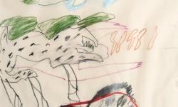 4 so bin ich dir zu willen, ohne liebe für dich, 2000, Zeichnung. Bleistift, Buntstift auf Transparentpapier, 40 x 29 cm