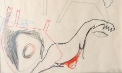 5 wie grausam du bist! und dass du's herz nicht vergisst..., 1999, Zeichnung. Bleistift, Buntstift auf Transparentpapier, 40 x 29 cm