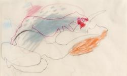 6 du fühlst lust an der qual, stoß zu zwei, drei mal! 2000, Zeichnung. Bleistift, Buntstift auf Transparentpapier, 40 x 29 cm