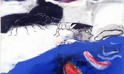 wurmFortsatz, 1997, Acryl auf Leinwand, 160 x 150 cm