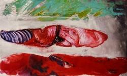 fisch und fleisch, 1995, Acryl auf Büttenkarton, 100 x 140 cm
