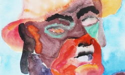 01 blind mit hut + knopf, 2010, Aquarell auf Papier, 40 x 30 cm