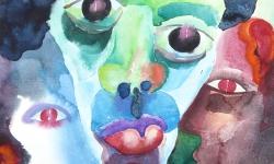 02 triumvirat, baskisch,  2010, Aquarell auf Papier, 40 x 30 cm