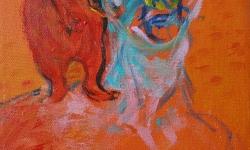 nackenschmeicheln, 1999, Acryl auf Leinwand, 24 x 18 cm