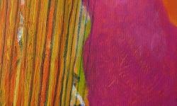 outlook mit harfe, 2002, Acryl auf Leinwand, 24 x 18 cm