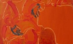 da schau: die fromme närrin!, 1999, Acryl auf Leinwand, 24 x 18 cm