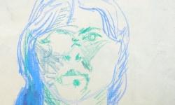 4 die mit dem monokel, 2001, Mischtechnik auf Papier, 40 x 30 cm