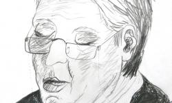 3 die mit der brillenkette, 2012, Bleistift auf Papier, 25 x 20 cm