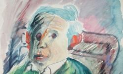 6 der mit den roten ohren, 2003, Aquarell auf Karton, 42 x 30 cm