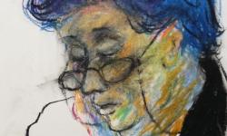 9 die mit dem blauem haar, 2001, Ölkreide auf Papier, 25 x 25 cm