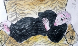 5 die auf der getigerten couch, 2007, Filz- und Tuschestift auf Papier, 30 x 40 cm
