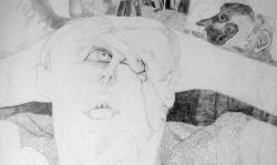 8 der mit den nachtgesichten, 1965, Bleistift auf papier, 70 x 50 cm