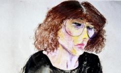 7 die mit den spectacles, 1988, Pastellkreide auf Papier, 70 x 50 cm