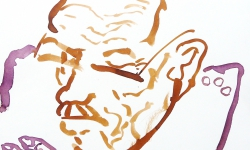 1 portrait w.b., 2010, Beize, Tusche auf Papier, 30 x 30 cm