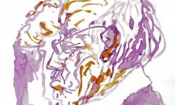 5 portrait w.b., 2010, Tusche, Beize auf Papier, 30 x 30 cm