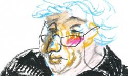 02 portrait c.k., 2001, Ölkreide auf Papier, 30 x 30 cm
