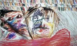 05 ménage à trois, 1988, Pastellkreide, 50 x 70 cm
