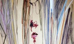 07 im zerrspiegel, 1988, Pastellkreide auf Ingrespapier, 50 x 35 cm
