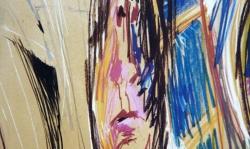 08 verzerrt und verspiegelt, 1988, Pastellkreide auf Ingrespapier, 50 x 35 cm