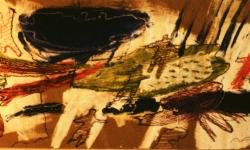 das schwarze tier in der wolke, 1993, Acryl/Kreide auf Packpapier, 30 x 65 cm