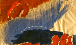 drei araber fischen westwärts, 1993, Acryl auf Packpapier, 40 x 60 cm