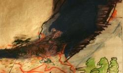schwarzTsunami, 1993, Acryl auf Packpapier, 40 x 60 cm