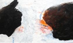 1 nero I, 2010, Teil des Tryptichons, Acryl auf Holz, 20 x 40 cm