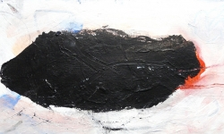 2 nero II, 2010 teil des Tryptichons, Acryl auf Holz, 20 x 40 cm