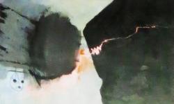 4 david gegen goliath, 2015, Acryl auf Pappe, auf Leinwand kaschiert, 82 x 110 cm