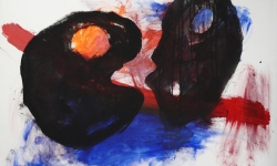 5 maskentanz, 2013, Acryl auf Leinwand, 80 x 100 cm