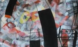 01 industrielle fragmente, 2015, Tusche auf aquarelliertem handgeschöpften Bütten, 25 x 33 cm