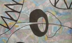 12 durchstich, 2018, Tusche auf aquarelliertem handgeschöpften Bütten, 25 x 33 cm