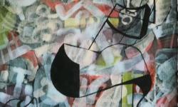 02 highheels in den seilen, 2015, Tusche auf aquarelliertem handgeschöpften Bütten, 25 x 33 cm