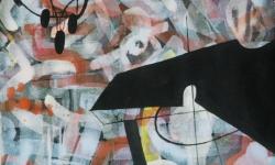 03 kronleuchter, schwarzlicht, 2015, Tusche auf aquarelliertem handgeschöpften Bütten, 25 x 33 cm